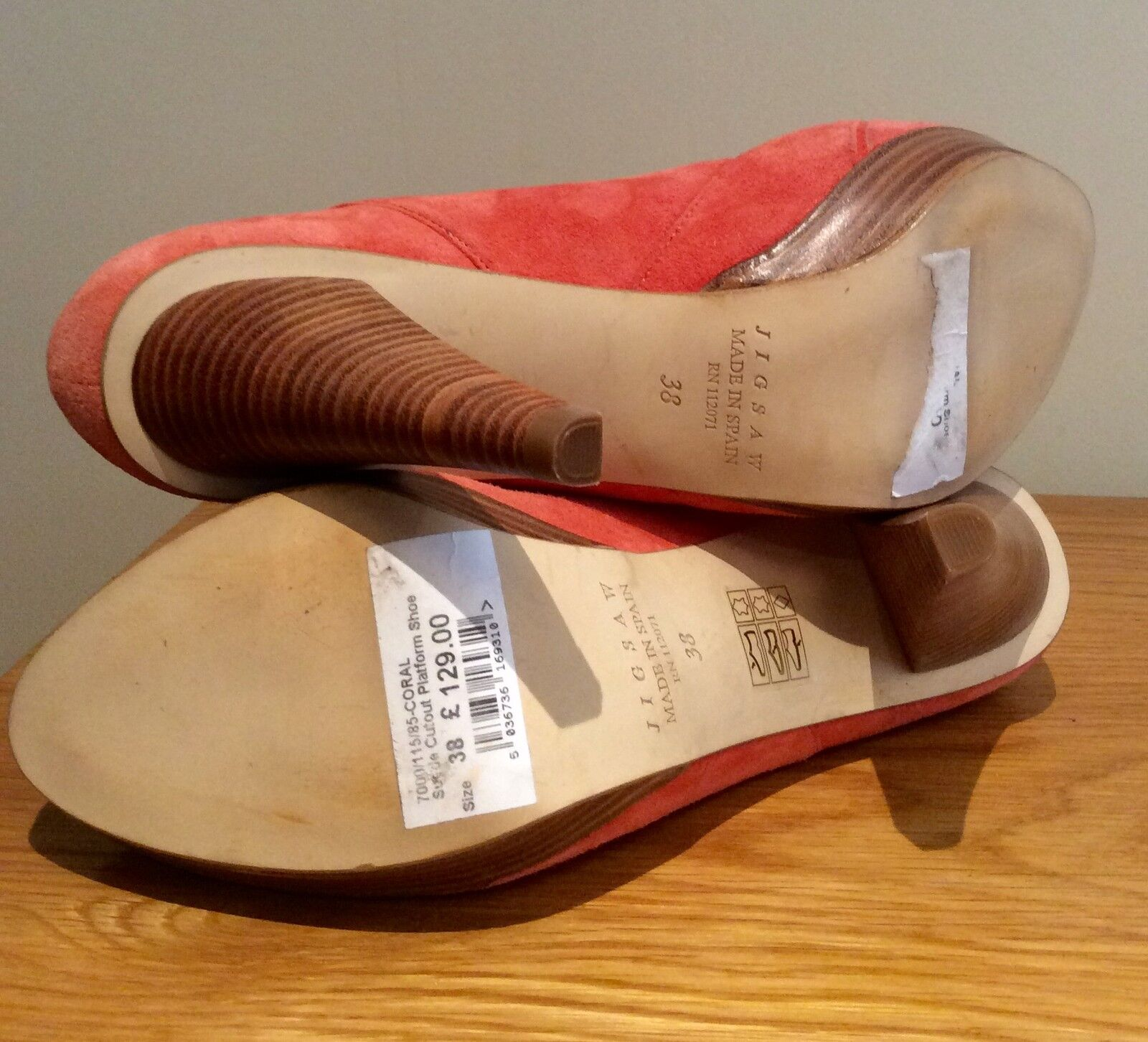 JIGSAW Schuhe 38    SIZE 38 Schuhe UK 5 CORAL SUEDE LEATHER CUTOUT HEELS PLATFORM c15ffc