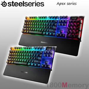 GENUINE-SteelSeries-Apex-Gaming-Keyboard-OLED-RGB-Illuminatiom-Aluminum-Frame
