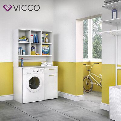 VICCO Waschmaschinenschrank 185 x 103 cm in Weiß Badmöbel Badschrank Schrank