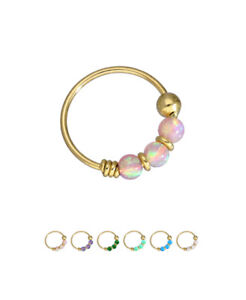10kt Gold Nose Ring Hoop Fixed Faux Opal Beads 5 16 22 Gauge 22g