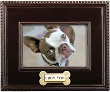 """Paw/"""" Pet Picture Frame for Dog and Cat Photos 4 x 6 Photo /""""Peace Silver Love"""