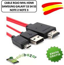 CABLE MHL HDMI HDTV ROJO SAMSUNG GALAXY S3 S4 S5 NOTE 2 NOTE 3 Y MAS. ESPAÑA