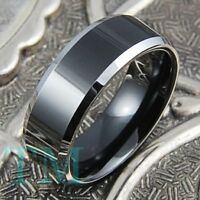 8mm Tungsten Mens Ring Black Anniversary Wedding Band Hi Power Jewelry Size 6-13