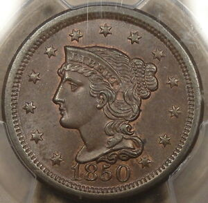 1850 Braided Hair Large Cent PCGS Certified MS65 BN