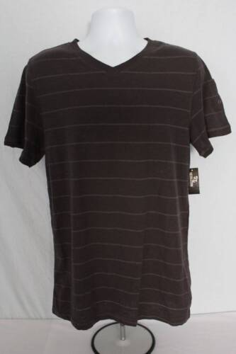 NEW Mens Top T Shirt Size Large Short Sleeve V Neck Casual Tee Gray Striped