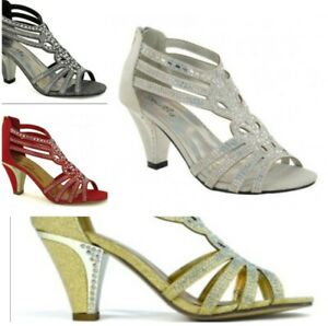 WOMEN-039-S-LADIES-DIAMANTE-MID-HEEL-PROM-WEDDING-BRIDAL-EVENING-SANDALS-PEEP-TOE