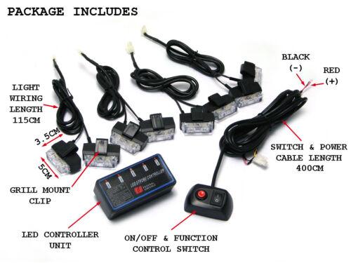 Flashing Emergency Beacon Light 8pce Set for Car Truck Lorry Van LED Amber
