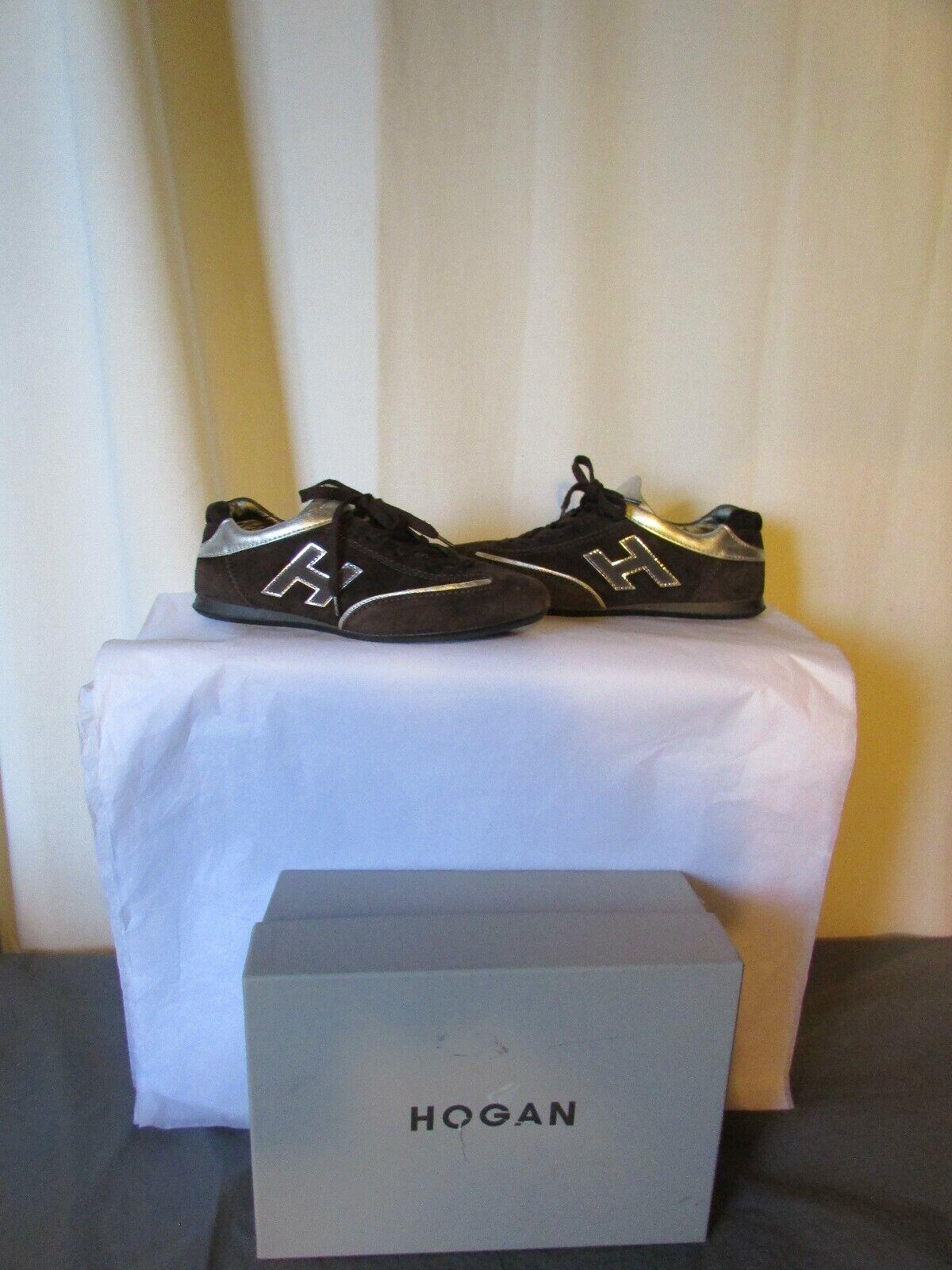 Sports skor skor skor HOGAN mocka bspringaaa läder silver 38,5  välkommen att välja