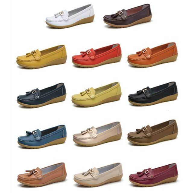 Womens Real Leather Comfy Walking Flats Pumps Loafers Office Ladies Casual Shoes