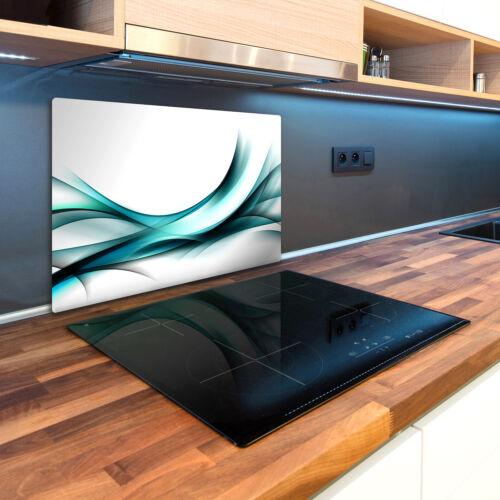 Glas-Herdabdeckplatte Ceranfeldabdeckung Spritzschutz 80x52 Wellen Abstrakt
