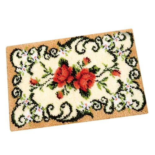 Flower Latch Hook Rug Kits DIY Pillow Mat Rug Making for Adults Beginners