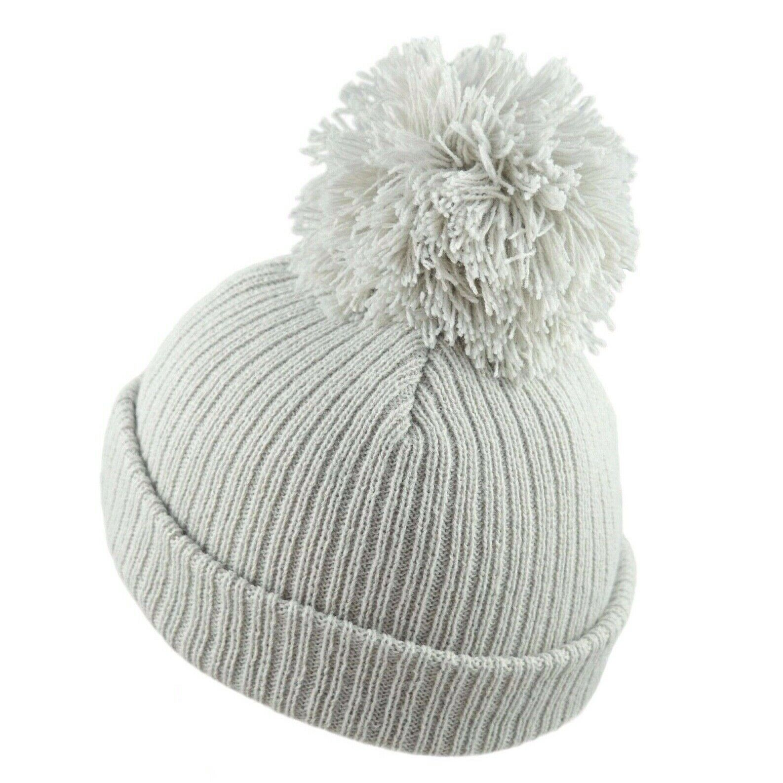 Pesci Baby Boys Girls Knitted Bobble Hat Striped Plain with Chin Tie