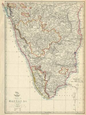 Goa Karikal Malabar/coromandel Coasts Efficient British India 'madras' Weller 1863 Map Selling Well All Over The World