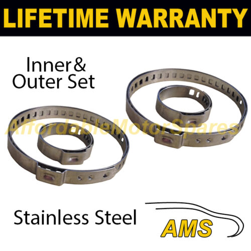 2X CV BOOT STAINLESS STEEL CLAMPS PAIR INNER /& OUTER FITS ALL VEHICLES UNIVERSAL