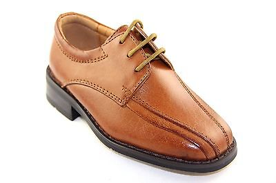 La Milano Boy's Tan Leather Oxford Dress Shoes Style# AT922012