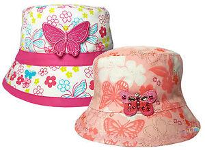 Girls Floral /& Mariposa Estilo De Cubo Verano Sol Sombrero Playa