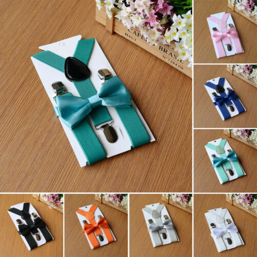 Matching Brace Suspenders And Bow Tie Set Kids Baby Boys Wedding Formal Sale Top