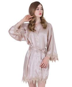 a66770deb682 Satin lace Robe with trim Gown Bridal Wedding Bride Bridesmaid ...