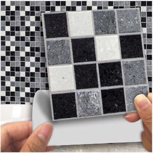 6//18pcs Kitchen Tile Stickers Bathroom Mosaic Sticker Self-adhesive Wall Decor