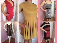 Fenn Wright Manson M&s Black Leopard Red Mustard Dresses Bundle Lot X 5 Size 10