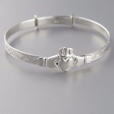 Irish Claddagh Adjustable Baby Bangle Bracelet - 925 Sterling Silver - Gift NEW
