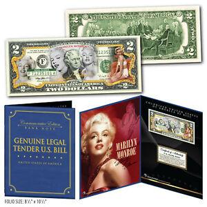 MARILYN-MONROE-Multi-Image-Genuine-US-2-Bill-in-8x10-Collectors-Display