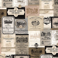 "12""/31cm Wallpaper SAMPLE  French Country Wine Labels"