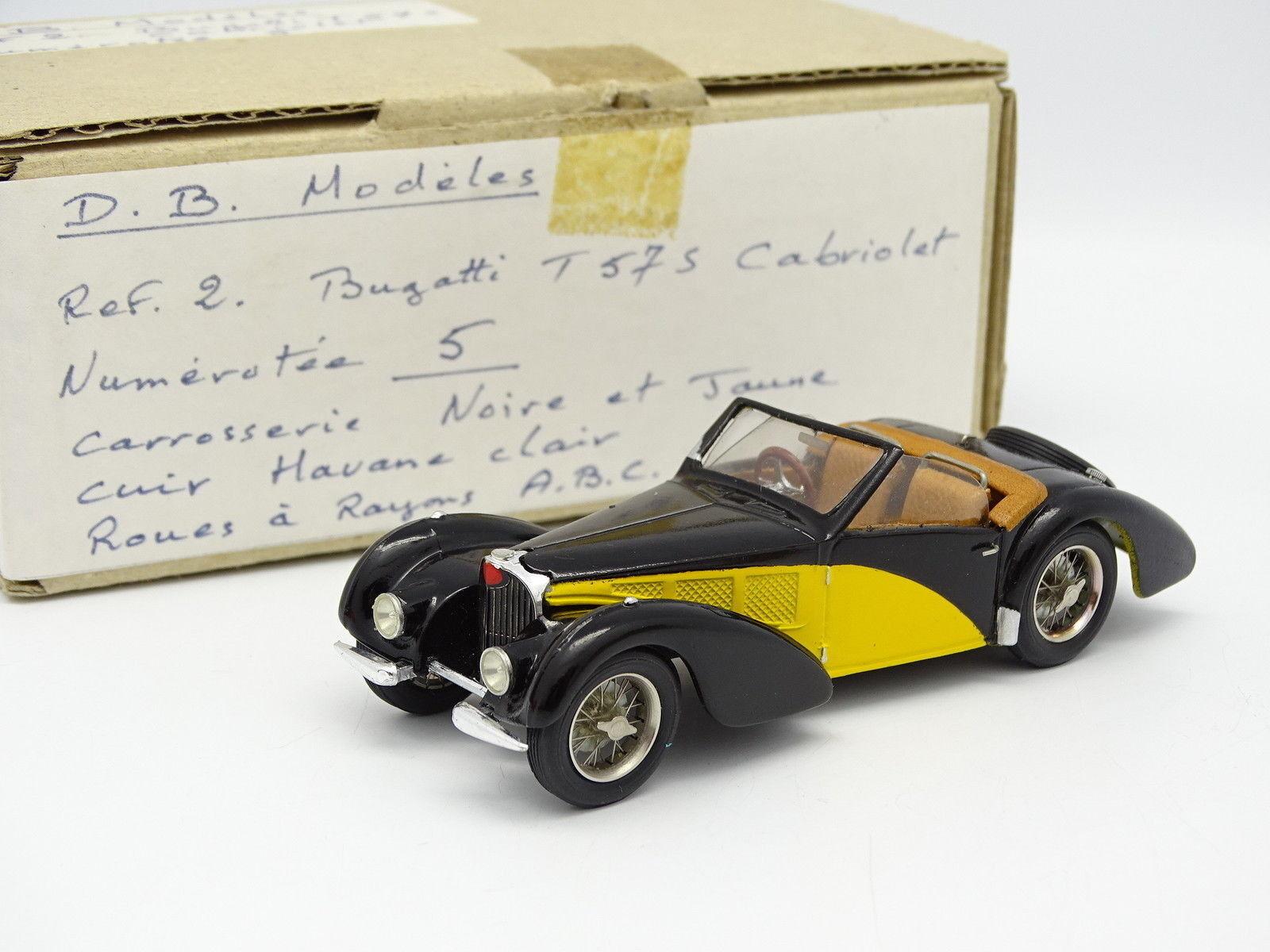 DB Modeles Kit Monté Résine 1 43 - Bugatti T57 S Cabriolet neroe et giallo