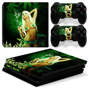 Novel Designs New Fashion Sony Ps4 Playstation 4 Pro Skin Aufkleber Schutzfolie Set Delightful Colors And Exquisite Workmanship Cannabis Girl Motiv Famous For Selected Materials