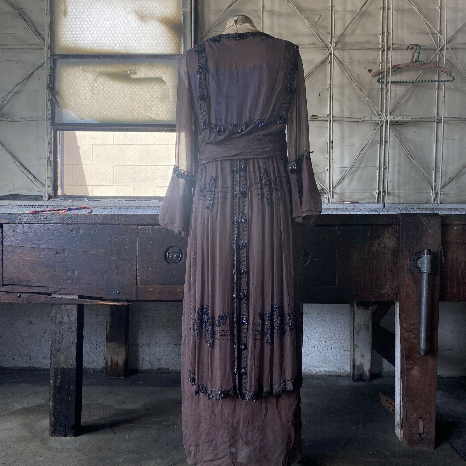 Antique 1910s Brown Silk Chiffon Tiered Beaded Dr… - image 11