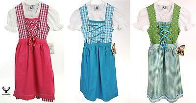 Kinder Dirndl 3ltg. Bluse+Schürze pink hellblau grün Teenager  Isar Trachten