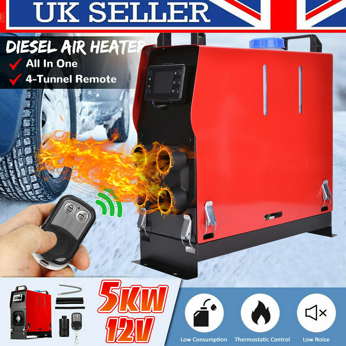 5KW 12V Air Diesel Heater 4 Holes LCD Monitor PLANAR Remote For Trucks Boats Car 2