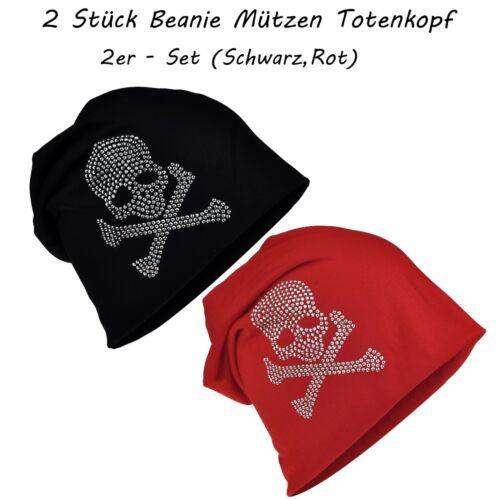 2 Stück Long Beanie Mütze XXL mit Totenkopf Strass Skull Unisex Schwarz Trend
