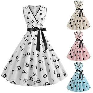 Women-Vintage-50s-60s-Rockabilly-Pinup-Swing-Dress-Eveing-Party-Cocktail-Dresses