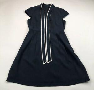 J-Crew-Womens-Tie-Neck-Dress-in-365-Blue-Knee-Length-Short-Sleeve-Size-8P-160