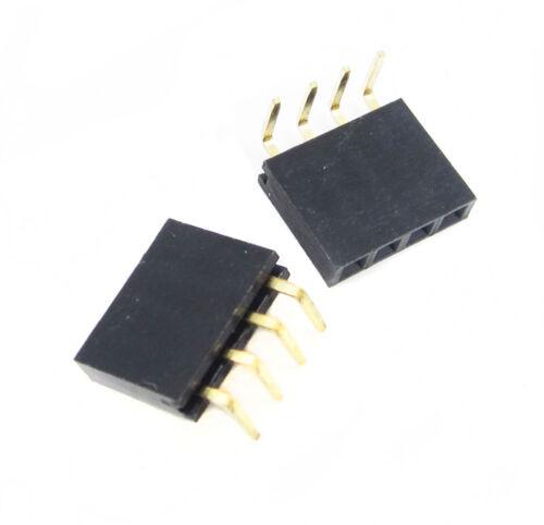 20pcs 1x4 P 4 Pin 2.54 Pin Female Pin Header Right Angle Single Socket Conn BBC
