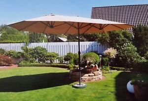 LECO-grosser-Doppel-Sonnenschirm-Sonnenschirm-Schirm-Gartenschirm-Ovalschirm-Neu