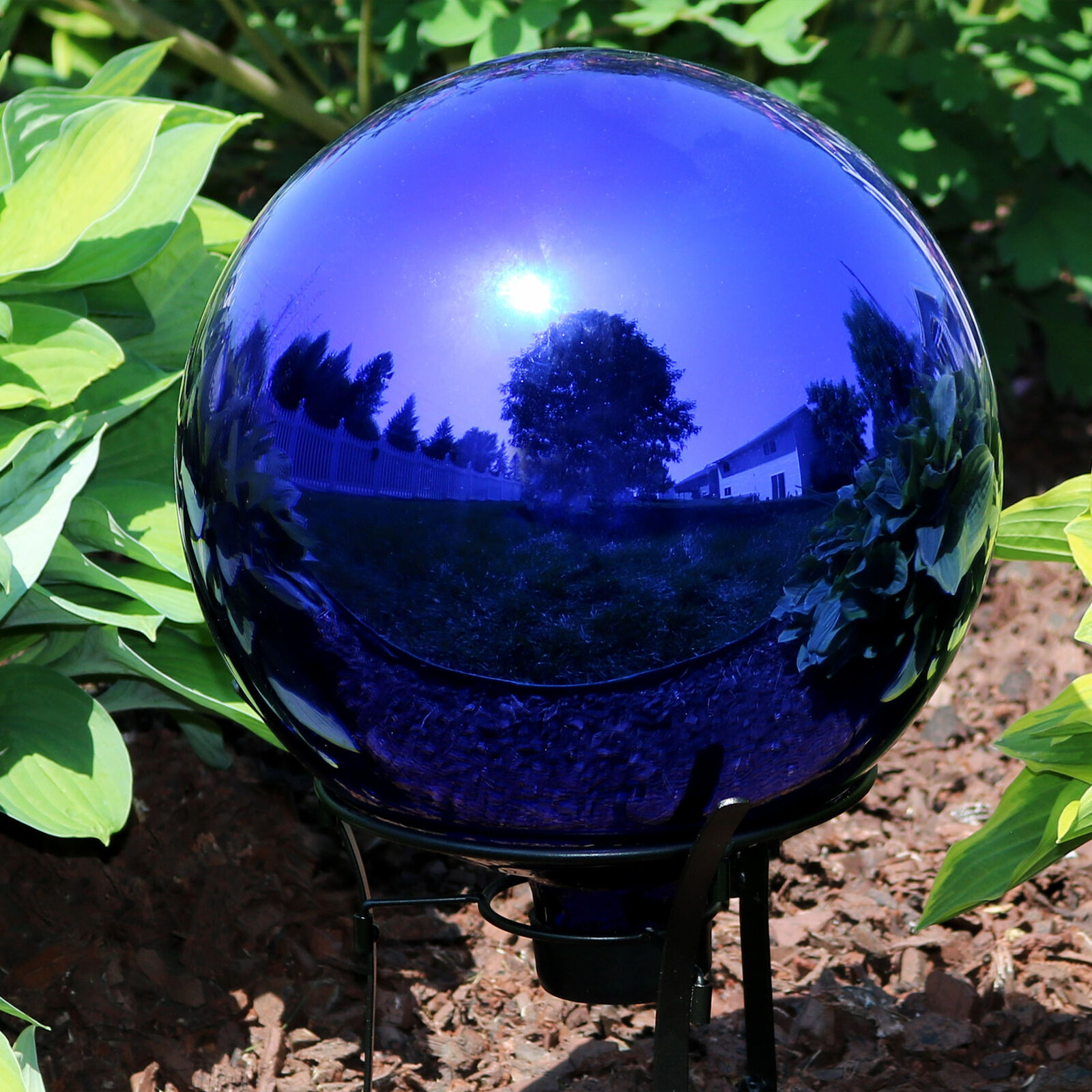 FixWhat 10 in Gazing Ball,Blue Stainless Steel Mirror Globe,Polished Reflective Smooth Garden Sphere,for Garden Home Decoration with Colorful Shiny Addition