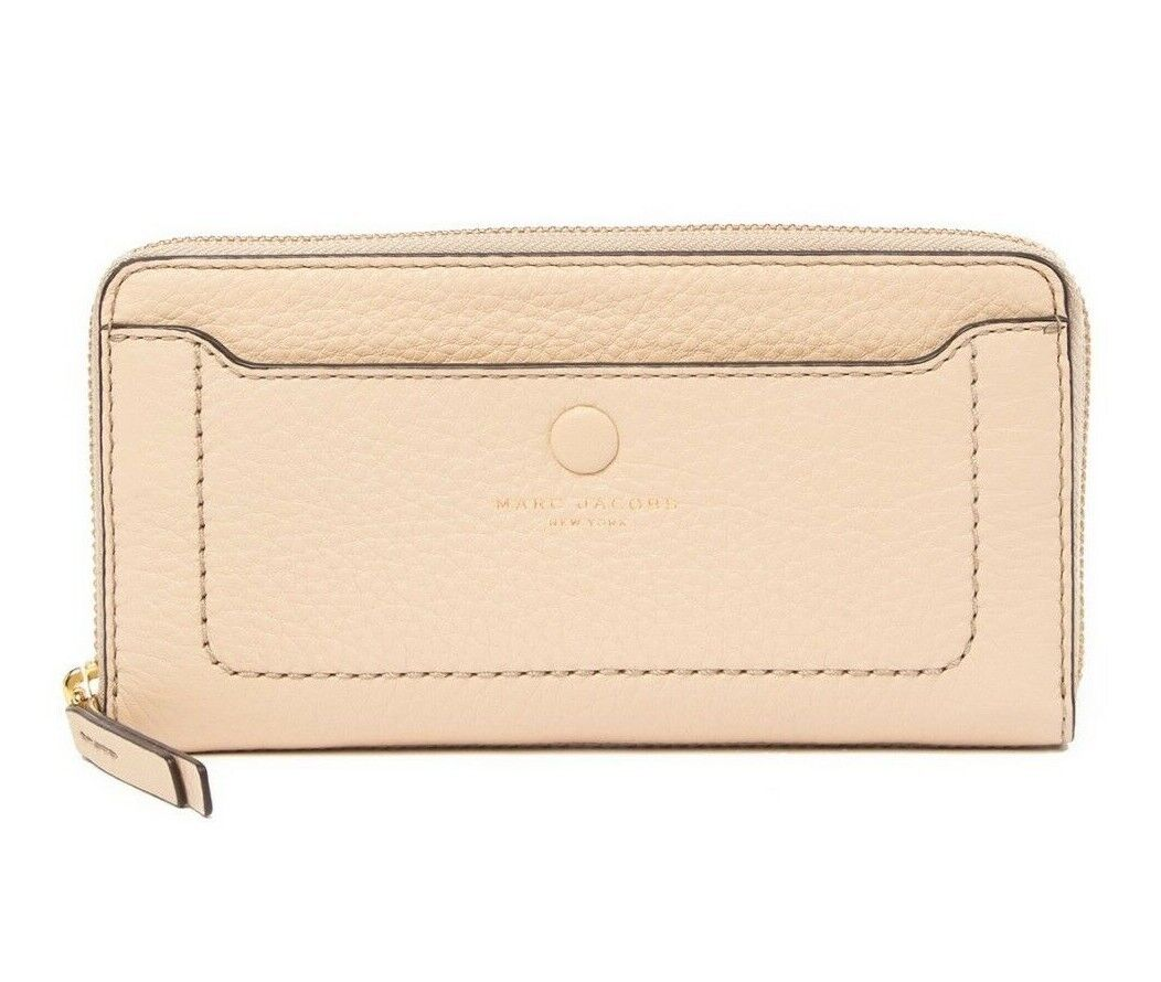 Marc Jacobs Women's Leather Zip Around Continental Wallet in Buff