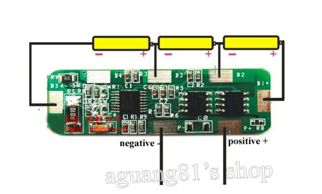 4A-5A PCB BMS Protection Board for 3 Packs 18650 Li-ion lithium Battery Cell 3S