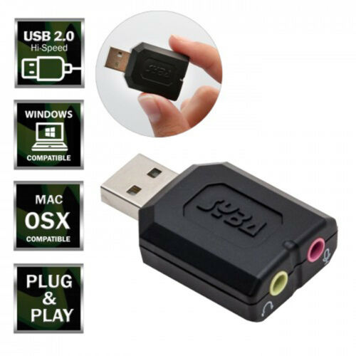 External USB Stereo Sound Adapter USB 2.0 To 3.5mm Mic Headphone Headset S3T3
