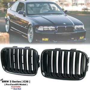 Glossy Black Front Kidney Grill Grille For BMW E36 318 320 323 325 M3 1990-1996