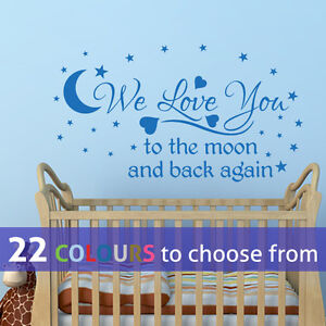 we love you to the moon and back baby boys girls quote wall art