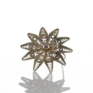 Antike-florale-Art-Deco-Brosche-aus-filigranem-Silber-835-handgefertigt-um-1920
