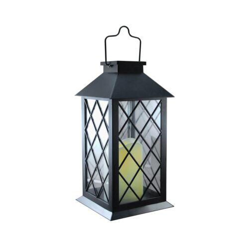 Lumabase 94001 Tudor with LED Candle Solar Powered Lantern Black