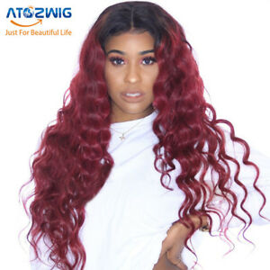 Long Black root Wine Red Curly Wavy for Women Wave Curly Wigs Heat ... 1169a28b8