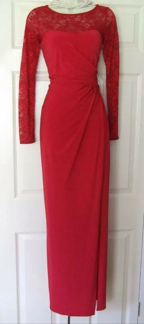 BNWT Coast Red Reeva Lace Stretch Evening Occasion Maxi Dress Size 10