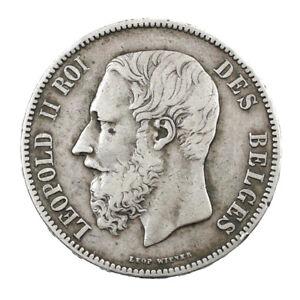 Piece-Argent-Belgique-5-Francs-Leopold-II-1873