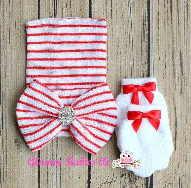 b9994dcae Newborn Baby Infant Girl Toddler bling pearl Bowknot Hospital Cap Beanie Hat  SET