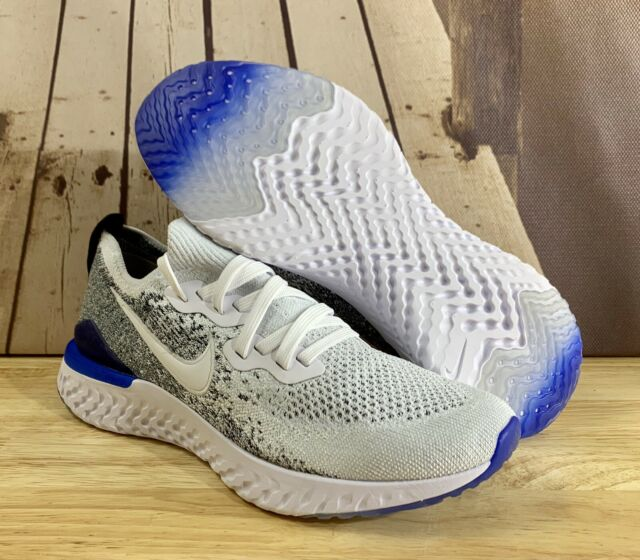 Nike Epic React Flyknit 2 White/Black/Racer Blue BQ8928-102 Men's Size 7.5